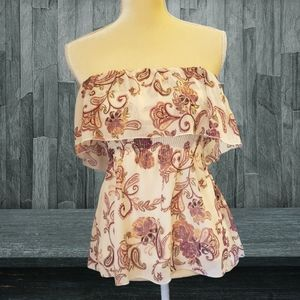 Candies S Floral Paisley Ivory Mulberry Blouse